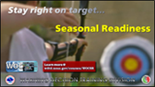 Screenshot of archery themed motivation poster for seasonal readiness training