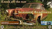 Screenshot of rust bucket themed motivation poster for seasonal readiness training