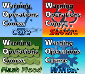 Course logos for the four Warning Operations Course tracks