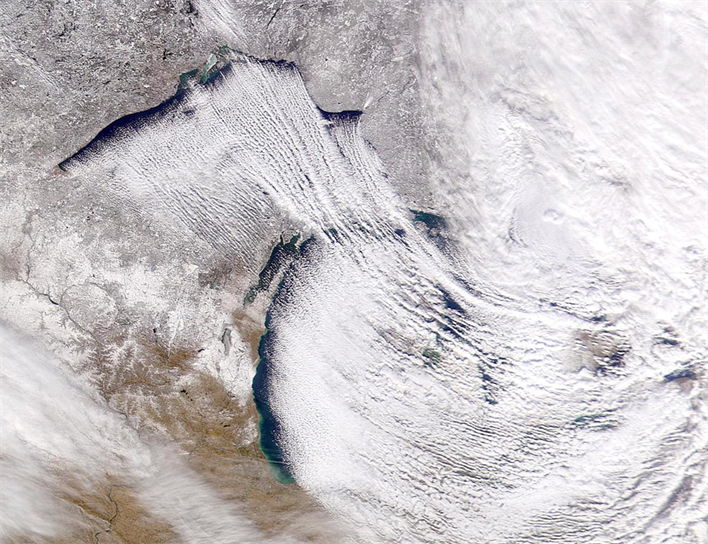Satellite photo of lake effect snow occurring near the Great Lakes