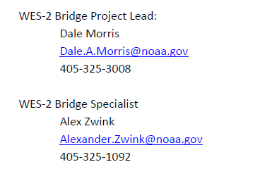WES-2 Bridge Support Information